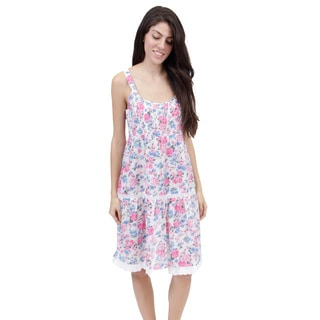 La Cera Women's Sleeveless Smocked Tier Floral Printed Chemise