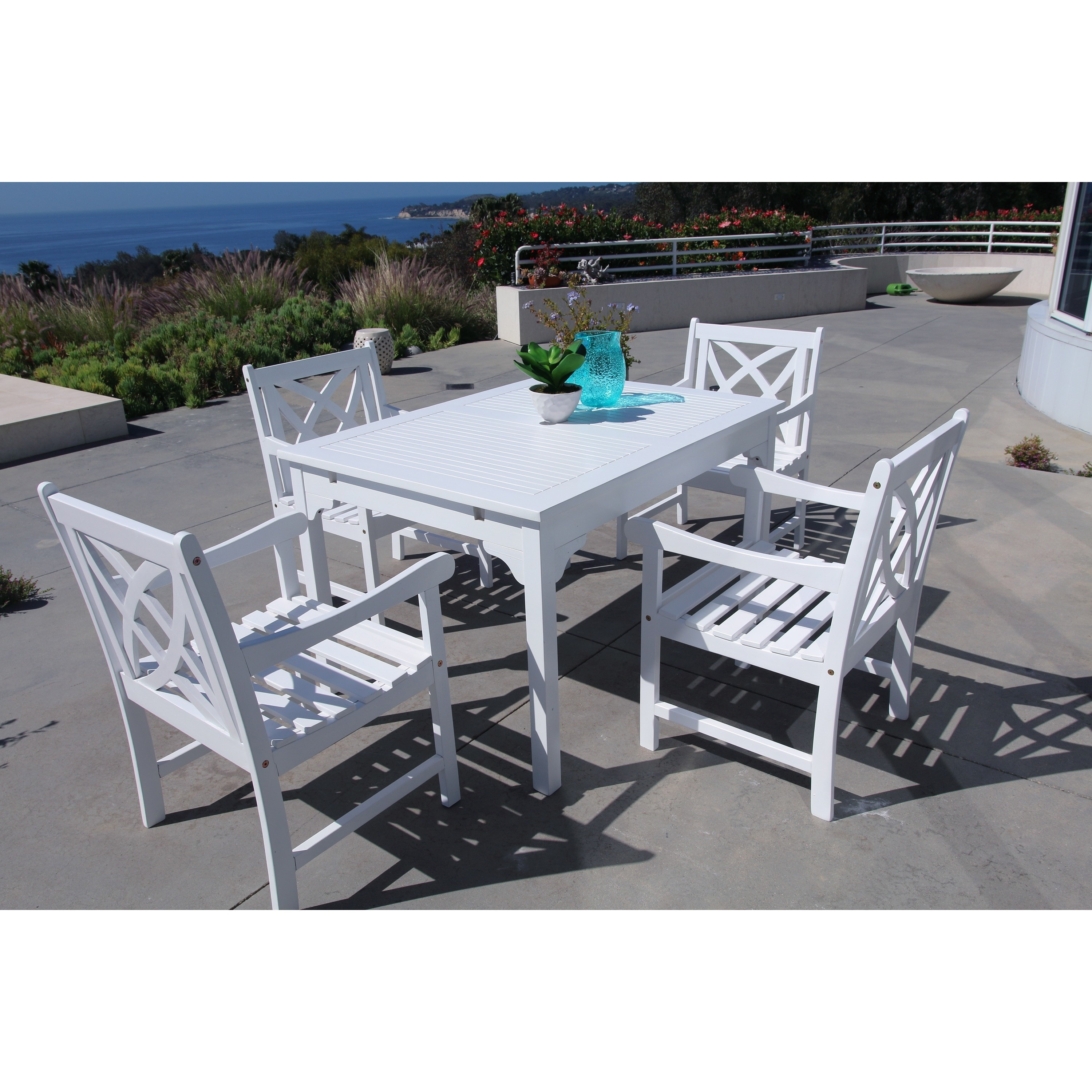 Bradley Eco Friendly 5 Piece Outdoor White Hardwood Dining Set With Rectangle Table And Arm Chairs Overstock 11502936