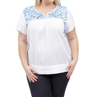 La Cera Women's Plus Size Short Sleeve hand-embroidered White Top