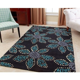 ABBYSON LIVING Hand-tufted Vanessa Teal New Zealand Wool Rug (3' x 5')
