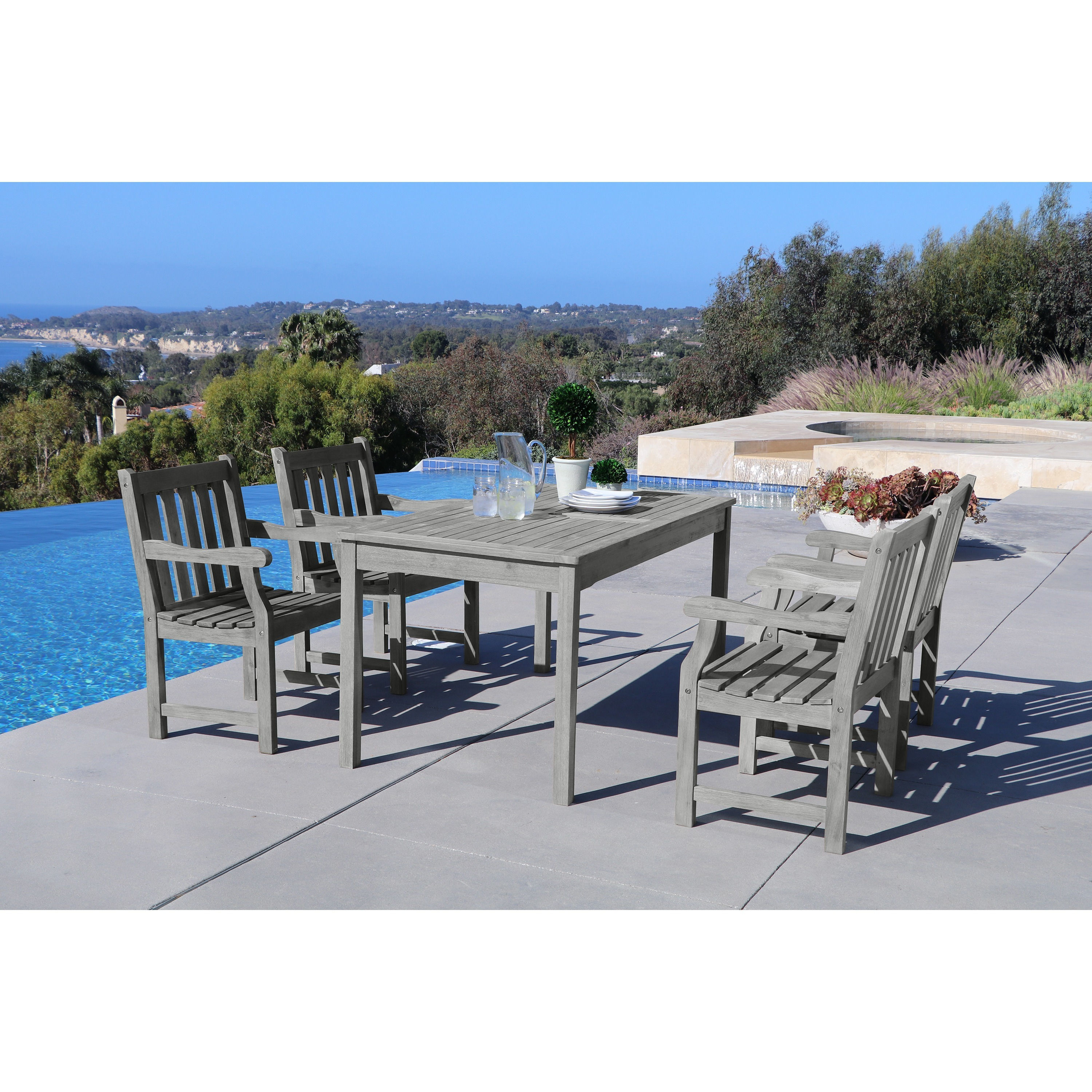 Shop renaissance eco friendly 5 piece outdoor hand scraped hardwood dining set with rectangle table and arm chairs free shipping on orders over 45