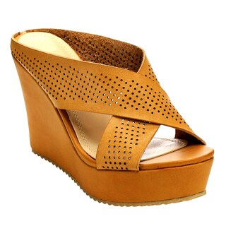 Beston Cd51 Women's Criss Cross Wedge Sandals