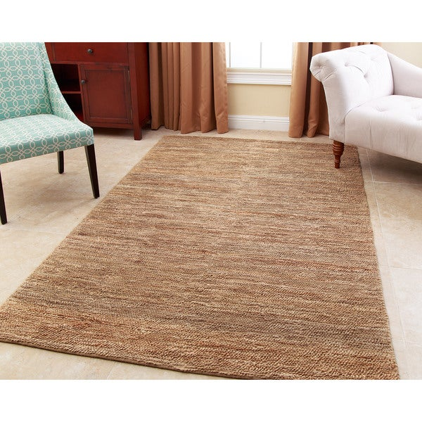 Abbyson Hand Woven Weaves Natural Colored Jute Dhurrie Rug