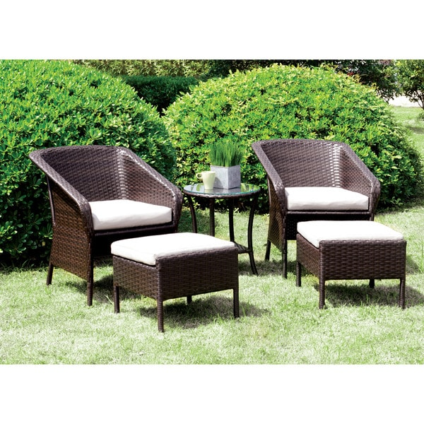 Shop Furniture Of America Mullan 5 Piece Espresso Wicker