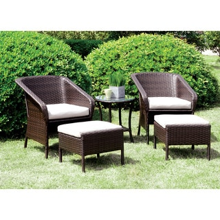 Furniture of America Mullan 5-piece Espresso Wicker Inspired Conversation Set with Nesting Ottomans