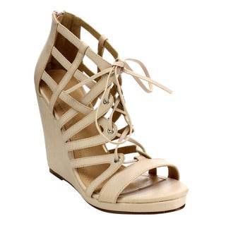 Beston Cd48 Women's Strappy Wedge Sandals
