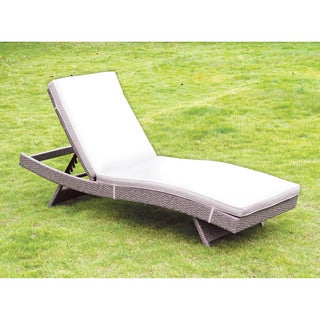 Furniture of America Gracer Contemporary Grey Wicker Inspired Contoured Adjustable Chaise Lounge