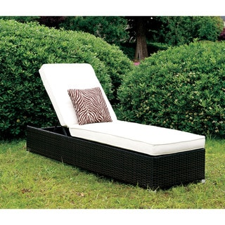 Furniture of America Patten Wicker Inspired Adjustable Chaise Lounge with Pillow