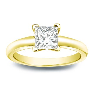 Auriya 14k Gold 1/4ct TDW Princess-cut Diamond V-End Solitaire Engagement Ring (I-J, SI2-SI3)