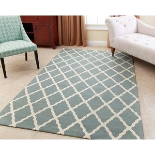 ABBYSON LIVING Hand-tufted Chloe Teal Blue New Zealand Wool Rug (5' x 8')