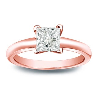 Auriya 14k Gold 1/4ct TDW Princess-cut Diamond V-End Solitaire Engagement Ring (J-K, I1-I2)