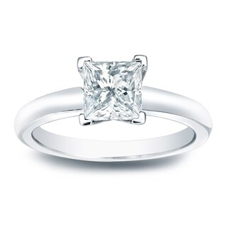 Auriya 14k Gold 1/3ct TDW Princess-Cut Diamond Solitaire Engagement Ring (More options available)