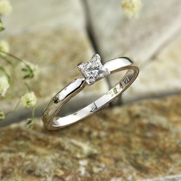 Auriya 14k Gold 1/3ct TDW Princess-Cut Solitaire Diamond Engagement Ring