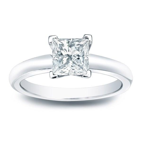 Auriya 14k Gold 1/3ct TDW Princess-Cut Diamond Solitaire Engagement Ring