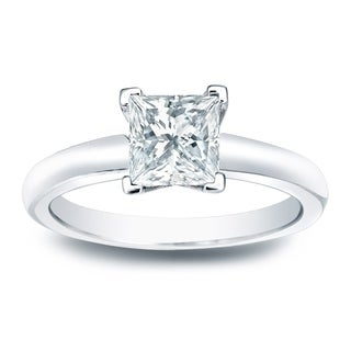 Auriya 14k Gold 1/3ct TDW Princess-cut Diamond V-End Solitaire Engagement Ring