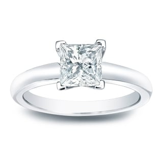 Auriya 14k Gold 1/3ct TDW Princess-cut Diamond V-end Solitaire Engagement Ring - White H-I