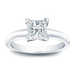 Auriya 14k Gold 1 3ct Tdw Princess Cut Diamond Solitaire Engagement Ring