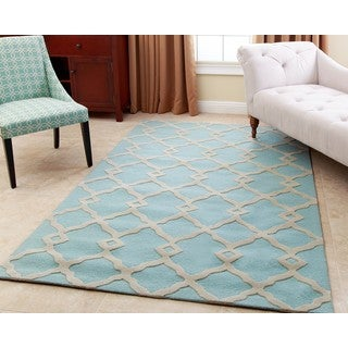 ABBYSON LIVING Hand-tufted Reese Turquoise New Zealand Wool Rug (5' x 8')