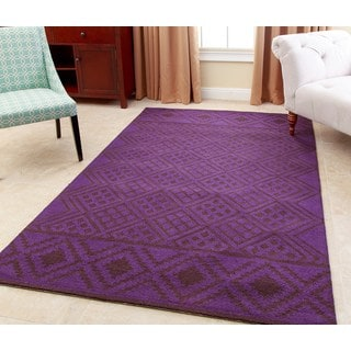 ABBYSON LIVING Hand-tufted Rowe Purple New Zealand Wool Rug (3' x 5')