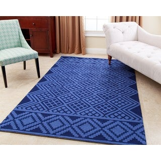 ABBYSON LIVING Hand-tufted Rowe Royal Blue New Zealand Wool Rug (5' x 8')