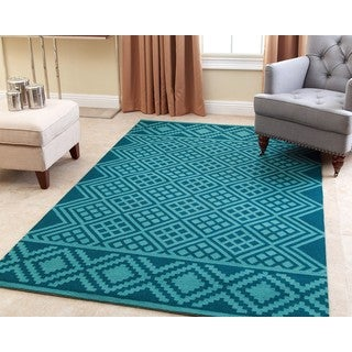 ABBYSON LIVING Hand-tufted Rowe Teal New Zealand Wool Rug (5' x 8')