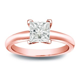 Auriya 14k Gold 1/3ct TDW Princess-Cut Diamond Solitaire Engagement Ring