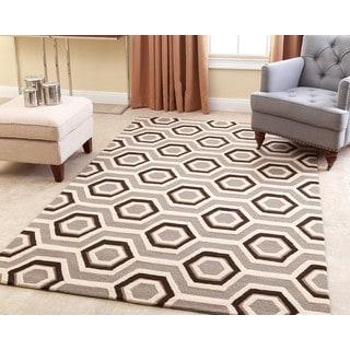 ABBYSON LIVING Hand-tufted Tilley Grey New Zealand Wool Rug (5' x 8')
