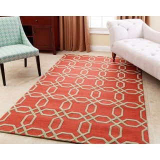 ABBYSON LIVING Hand-tufted Whitney Orange New Zealand Wool Rug (8' x 10')