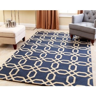 ABBYSON LIVING Hand-tufted Whitney Navy Blue New Zealand Wool Rug (5' x 8')