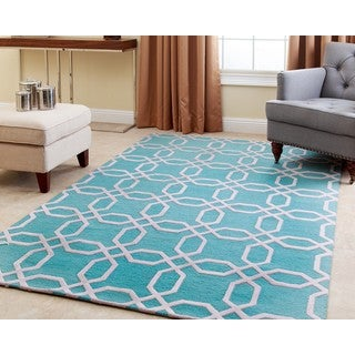 ABBYSON LIVING Hand-tufted Whitney Turquoise New Zealand Wool Rug (5' x 8')