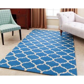 ABBYSON LIVING Handmade Carson Ocean Blue New Zealand Wool Rug (5' x 8')