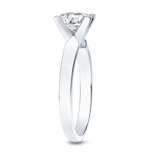 Auriya 14k Gold 1/2ct TDW Princess-cut Diamond V-End Solitaire Engagement Ring (H-I, SI1-SI2)