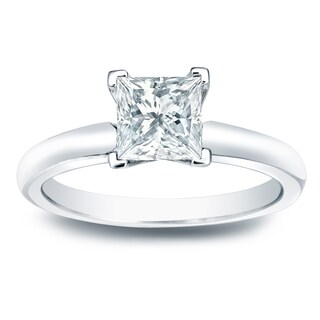 Auriya 14k Gold 1/2ct TDW Princess-Cut Diamond Solitaire Engagement Ring (More options available)