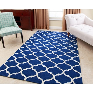 ABBYSON LIVING Hand-tufted Carson Navy Blue New Zealand Wool Rug (5' x 8')