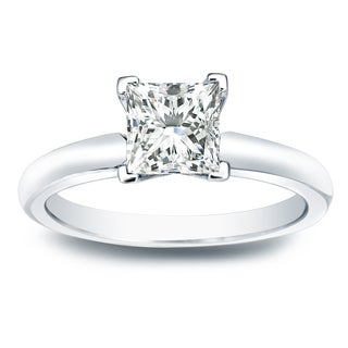 Auriya 14k Gold 1/2ct TDW Princess-cut Diamond V-End Solitaire Engagement Ring (I-J, SI1-SI2)