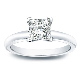 14k Gold 1/2ct TDW V-End Solitaire Princess-cut Diamond Engagement Ring by Auriya