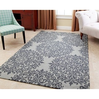 ABBYSON LIVING Hand-tufted Aubrey Floral Teal New Zealand Wool Rug (8' x 10')
