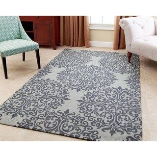 ABBYSON LIVING Hand-tufted Aubrey Floral Teal New Zealand Wool Rug (5' x 8')