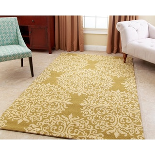 ABBYSON LIVING Hand-tufted Aubrey Floral Moss New Zealand Wool Rug (3' x 5')