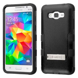 Insten Hard PC/ Silicone Dual Layer Hybrid Rubberized Matte Case Cover with Stand for Samsung Galaxy Grand Prime