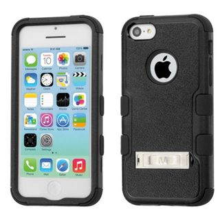 Insten Hard PC/ Silicone Dual Layer Hybrid Rubberized Matte Case Cover with Stand for Apple iPhone 5C