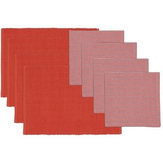 Red Gelato Placemat and Check Napkin Set (Set of 4)