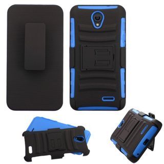 Insten Hard PC/ Silicone Dual Layer Hybrid Case Cover with Holster for ZTE Prestige