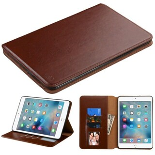 Insten Leather Case Cover with Stand/ Wallet Flap Pouch/ Photo Display for Apple iPad Mini 4 (Option: Brown)