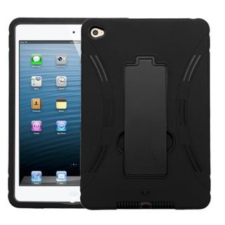 Insten Symbiosis Soft Silicone/ PC Dual Layer Hybrid Rubber Case Cover with Stand for Apple iPad Mini 4