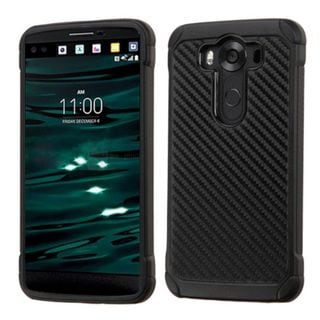 Insten Carbon Fiber Hard PC/ Silicone Dual Layer Hybrid Rubberized Matte Case Cover for LG V10