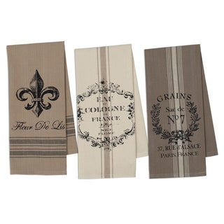 French Grain Sack Printed Dishtowel Set