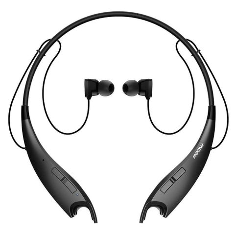 Mpow Jaws V4.1 Bluetooth Headphones Wireless Neckband Headset Stereo Noise Cancelling Earbuds