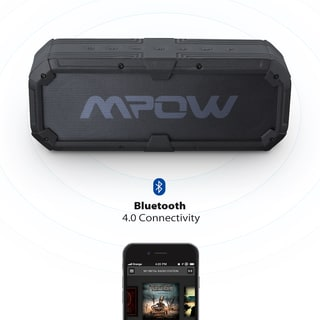 Mpow Armor Plus Bluetooth 4.0 Portable Ipx5 Speaker w/ Enhanced Bass, Dual 8w Drivers, 5200mah Power Bank, 22hs Playtime
