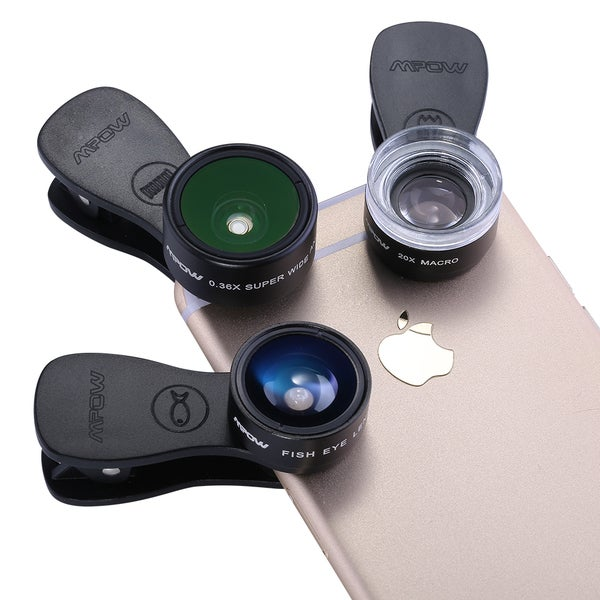 2454558a98c149 Mpow MLens V1 Professional Clip-on Lens Kit 180 Degree Fisheye + 0.36x  Wide. Click to Zoom